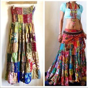 Bohemian gypsy colorful patchwork dress skirt
